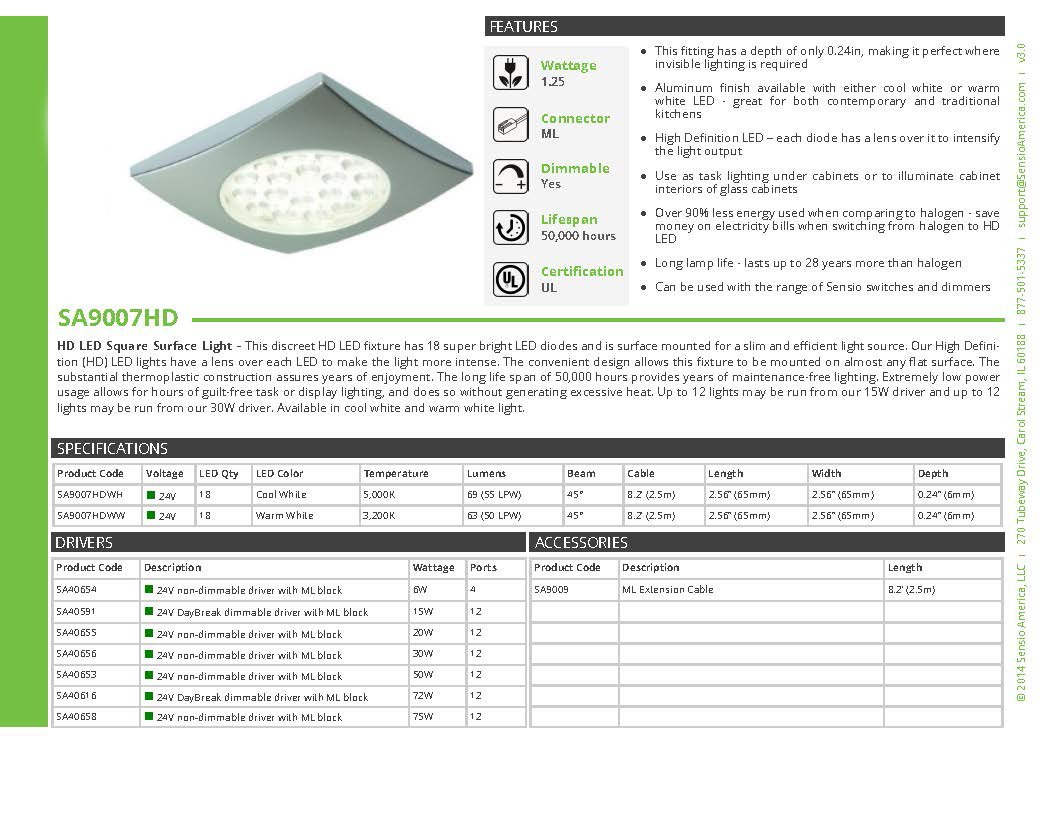 Warm White Transolid SA9007HDALWW Sensio Hd Led 24V 1.25W Square Surface Puck Light Aluminum