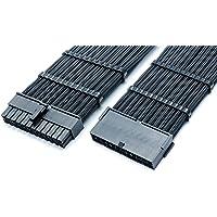 shakmods 24 pin 30 cm Heatshrinklss mouwen verlenging ATX moederbord kabel met 2 kabels 30cm zwart/groen