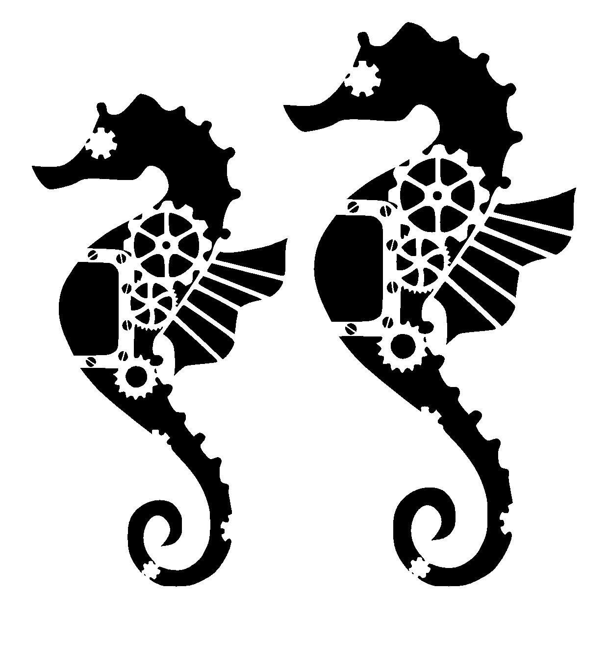 Steampunk cogs seahorse stencil. Choose size and thickness.