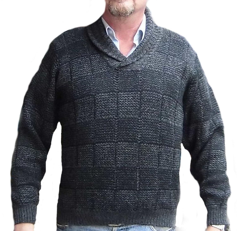 Alpacaandmore Dunkelgrauer Herren Pullover Strickpullover peruanische Alpakawolle