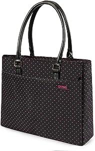 Laptop Tote Bag, DTBG 15.6 Inch Shoulder Bag For 15-15.6 Inch (Black+Pink Dot)