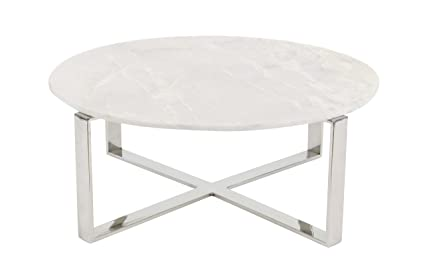 Amazoncom Deco 79 Round White Marble Coffee Table With Silver