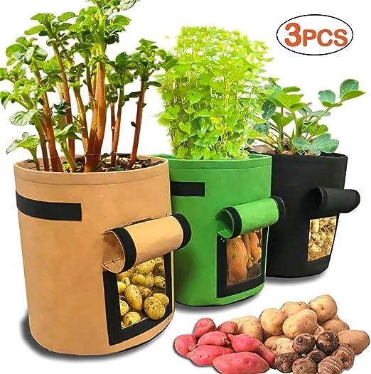 Scoolr bolsas de cultivo de patata, 3 bolsas de cultivo de 7 ...
