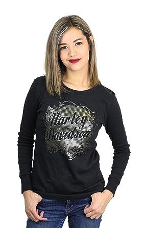 Harley Davidson Womens Square Shine Foil Print Black Long Sleeve T