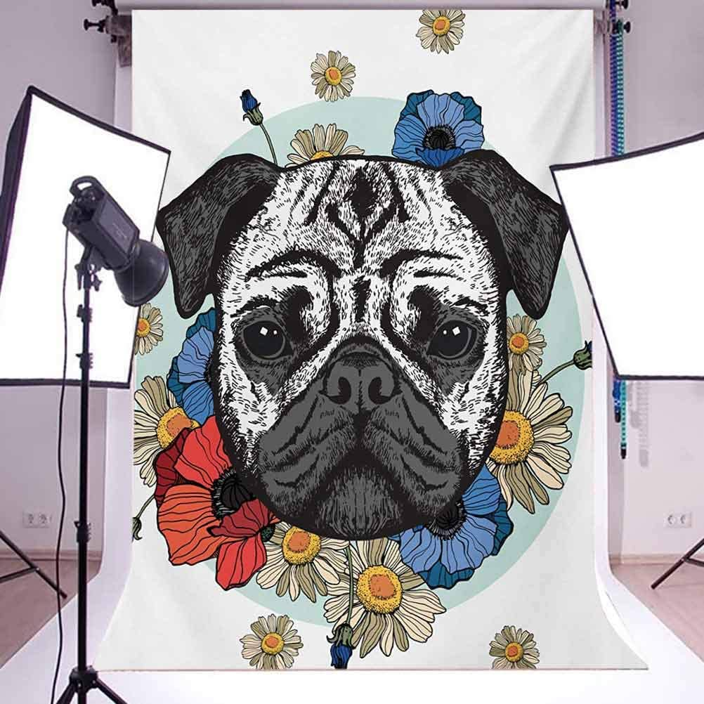 Pug 10x15 FT Photography Backdrop Black and White Head of a Pug on Floral Arrangement with Beautiful Flowers Daisies Background for Photography Kids Adult Photo Booth Video Shoot Vinyl Studio Props