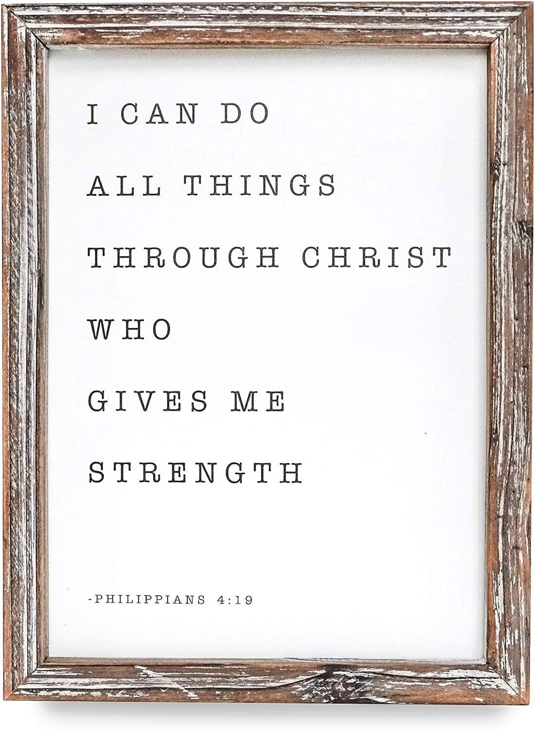 Sweet Water Decor I Can Do All Things Through Christ Who Gives Me Strength Wood Sign 9x12 Farmhouse Rustic Wall Decoration Religious Quote Philippians 4 13 Wall Hanging for Home, Kitchen, Living Room