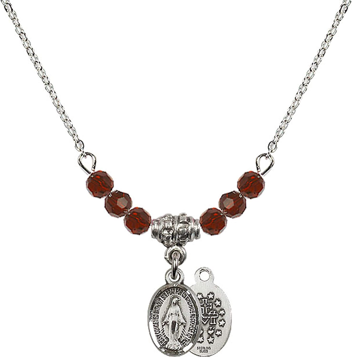 Bonyak Jewelry 18 Inch Rhodium Plated Necklace w// 4mm Red January Birth Month Stone Beads and Miraculous Charm