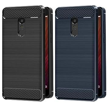 iVoler [2 Unidades] Funda para Xiaomi Redmi Note 4 / Xiaomi Redmi Note 4X, Diseño de Fibra de Carbon Ultra Fina TPU Silicona Carcasa Fundas Protectora ...