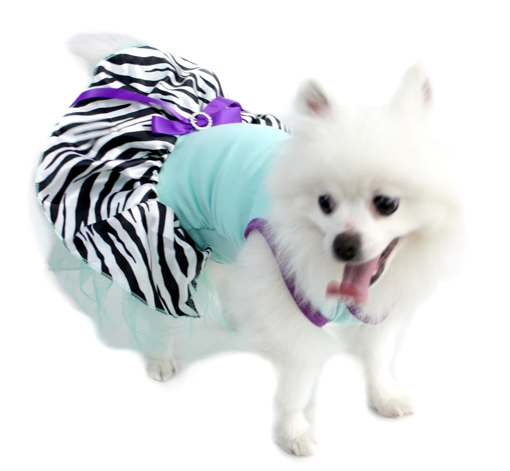 Puppy Clothes Dog Dress Light Blue Cotton Top Zebra Tutu Animal Wear (Large)