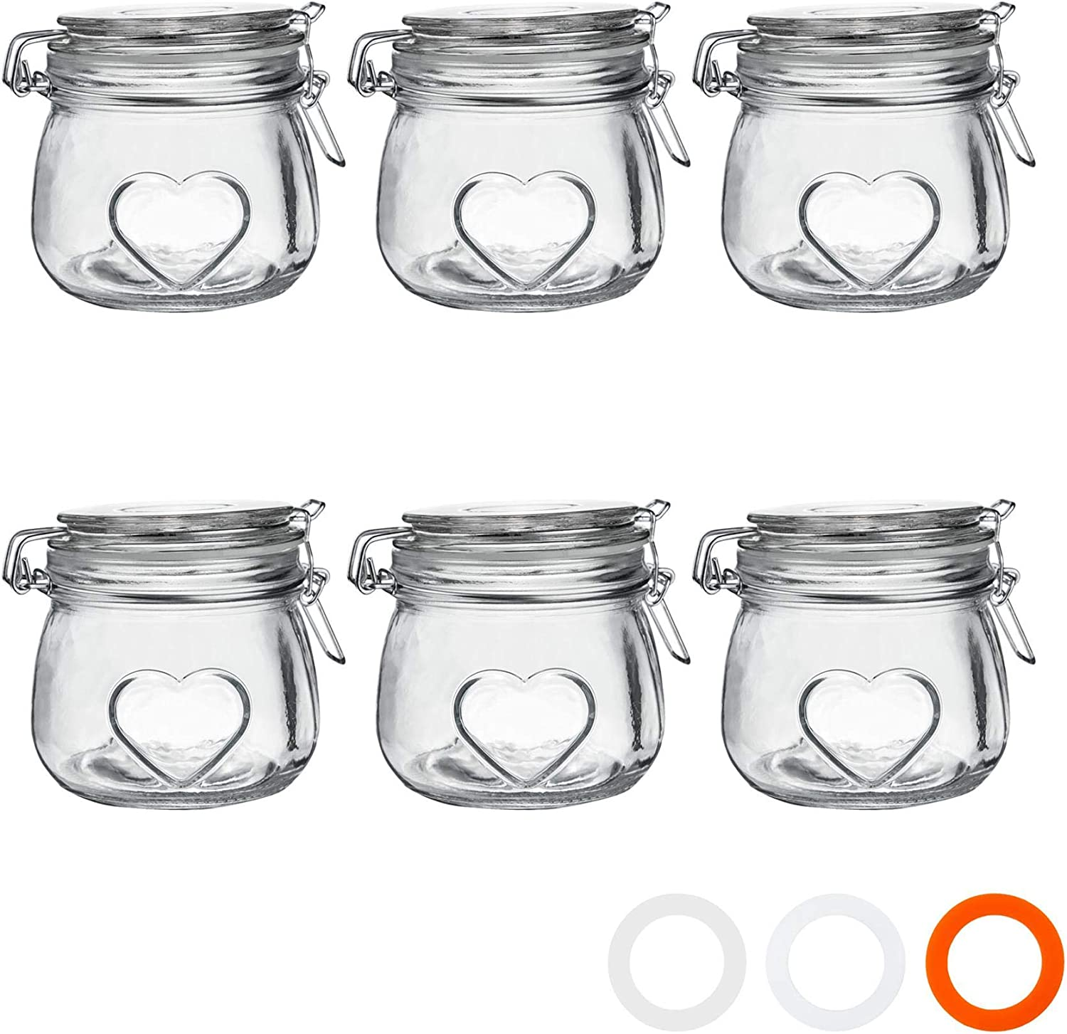 Nicola Spring Heart Glass Storage Jars with Airtight Clip Lid - 500ml Set - Clear Seal - Pack of 6