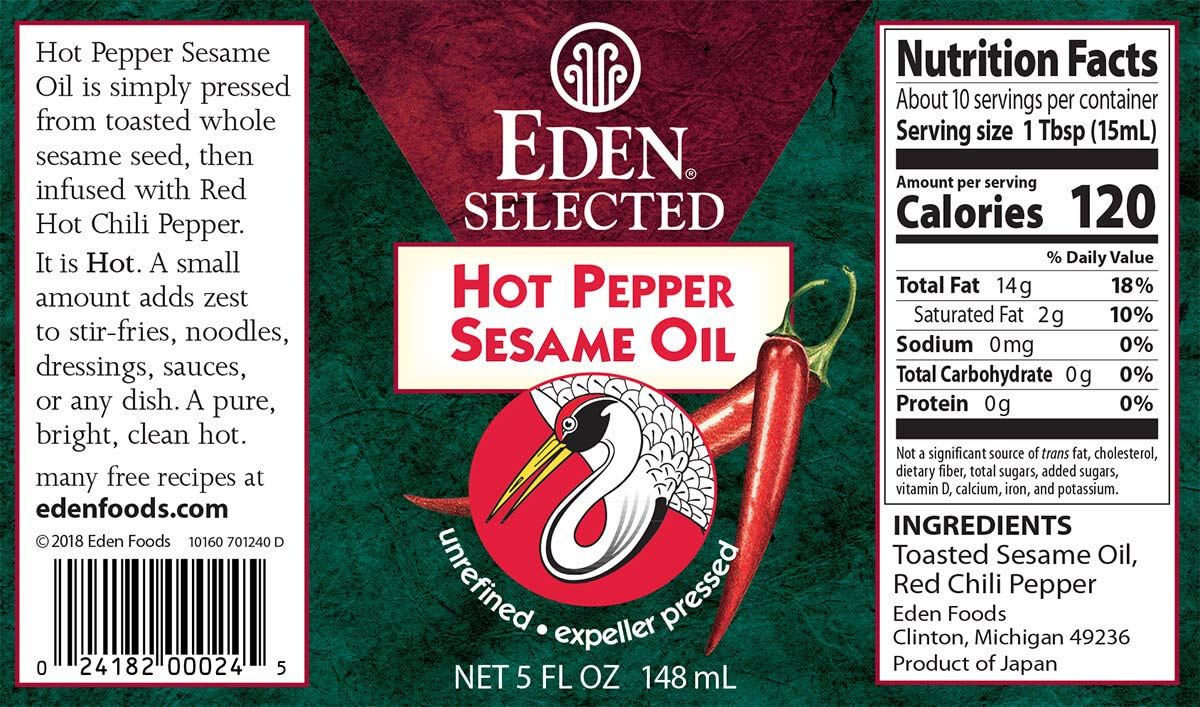 Eden Foods Hot Pepper Sesame Oil (3x5 OZ) by Eden