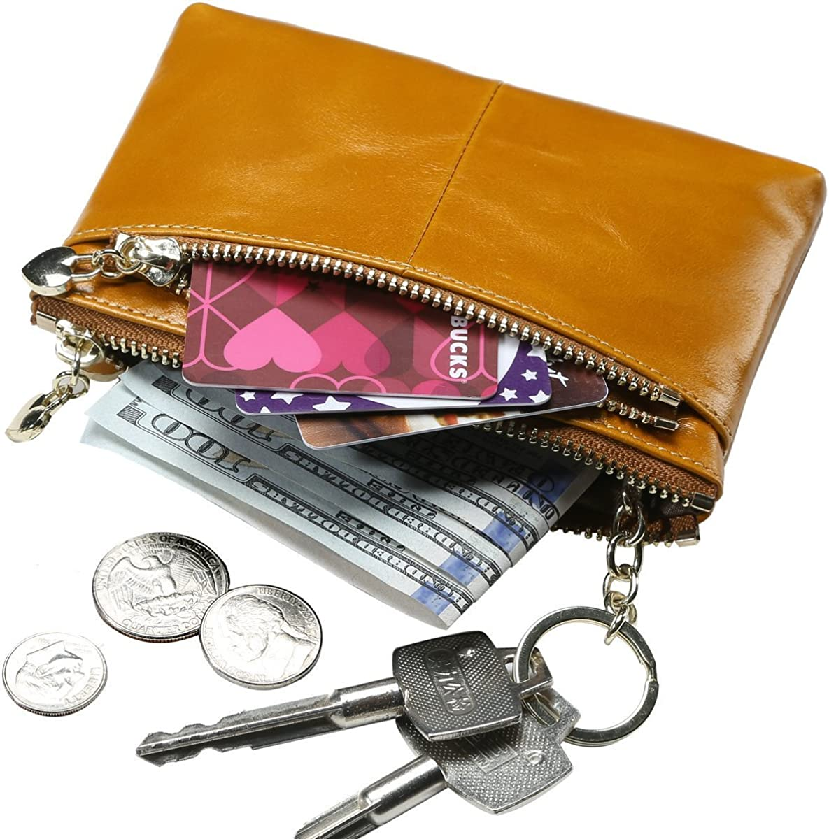 Sueway Genuine Leather Coin Purse Pouch Change Credit Card Holder Zipper Wallet with Key Chain Mini Size