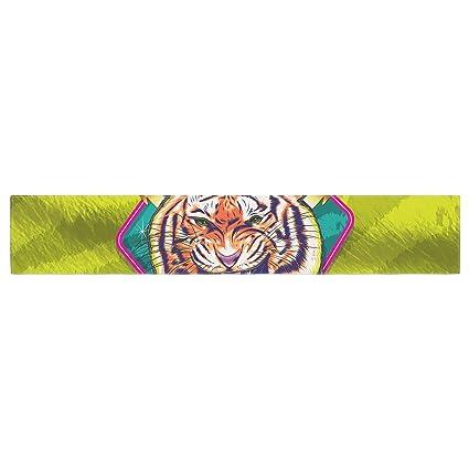 KESS InHouse Roberlan Super Furry Tiger Warrior  Green Orange Table Runner 16 x 180