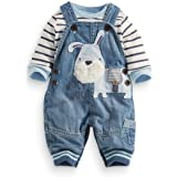 LvYinLi Cute Baby Boy Clothes Suit Toddler Boys' Striped Long Sleeve T-Shirt+Denim Overalls Jumpsuit Pants Outfits Sets