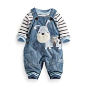 LvYinLi US Baby Boy Clothes Boys' Romper Jumpsuit Overalls Stripe Rompers Sets (9-14 months, Blue)