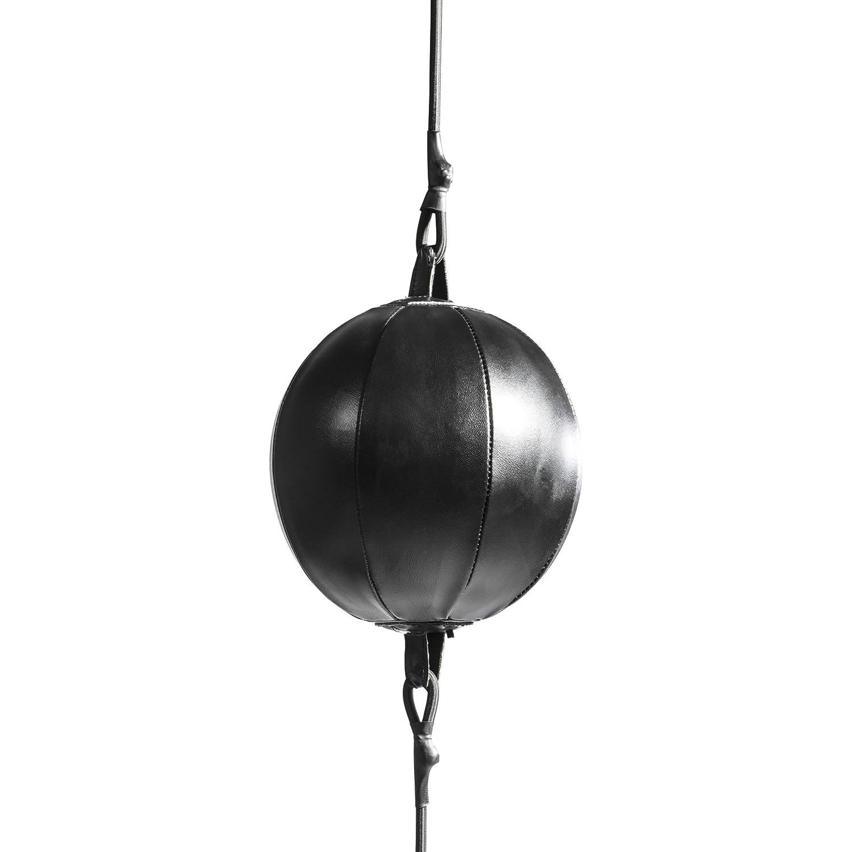 GORILLA SPORTS/® Punchingball aus Kunstleder Schwarz Spanngurten Speedball mit 20 cm Durchmesser inkl