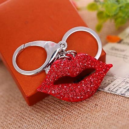 jewelbeauty rojo Rhinestone gran beso labios llavero Bling ...