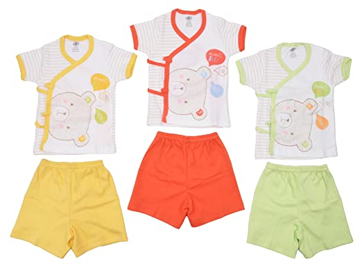 203ca63ada82 Zero Baby Boy s and Baby Girl s Cotton Clothing Set of 3 Front Open ...
