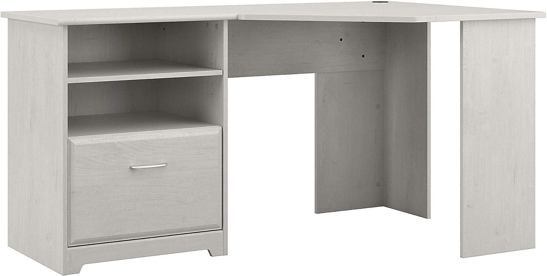Bush Furniture Cabot Corner Desk, Linen White Oak