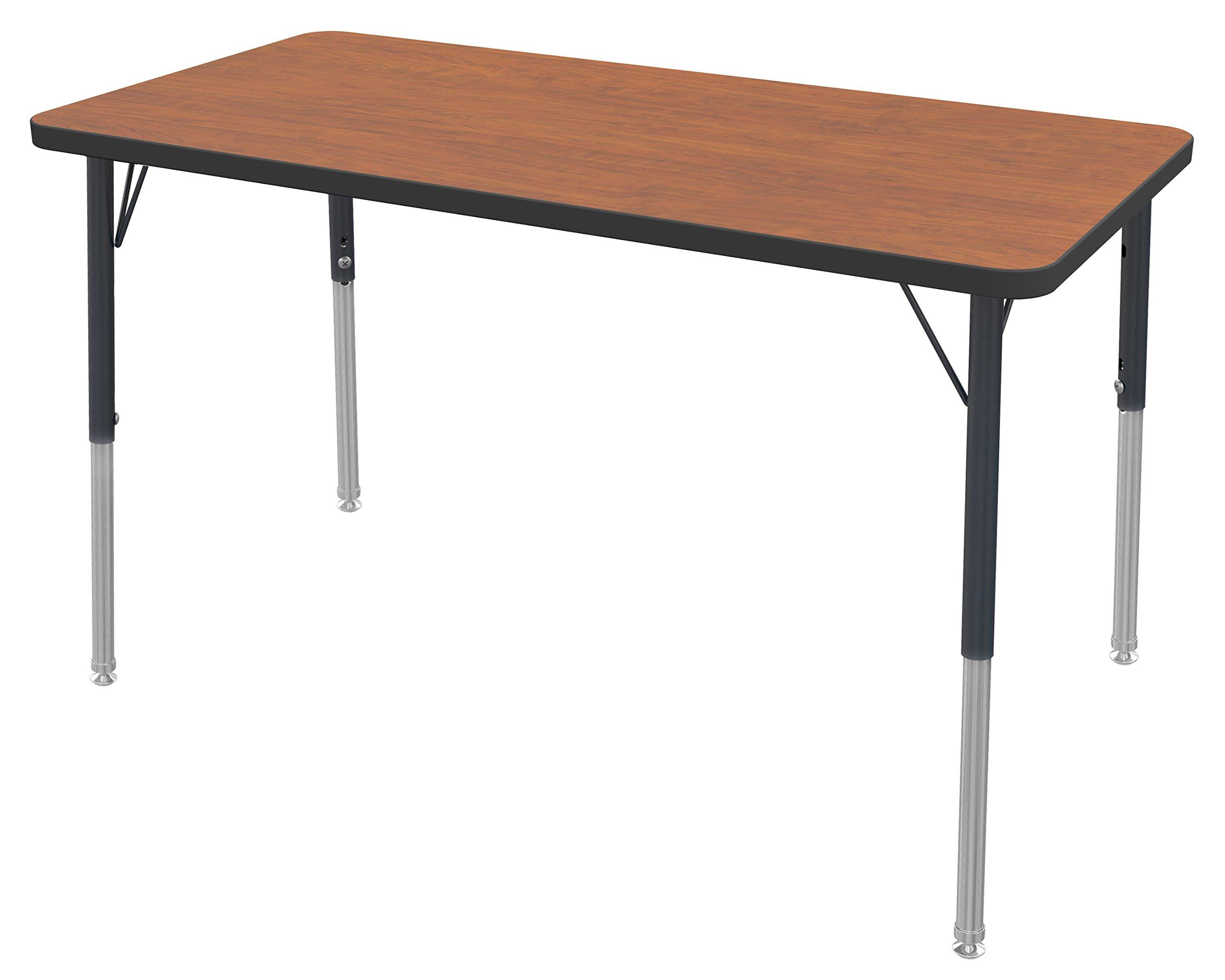 Marco Group Rectangular Adjustable Activity Table, 24'' Width x 36'' Length, Cherry, Black Trim, Standard Legs