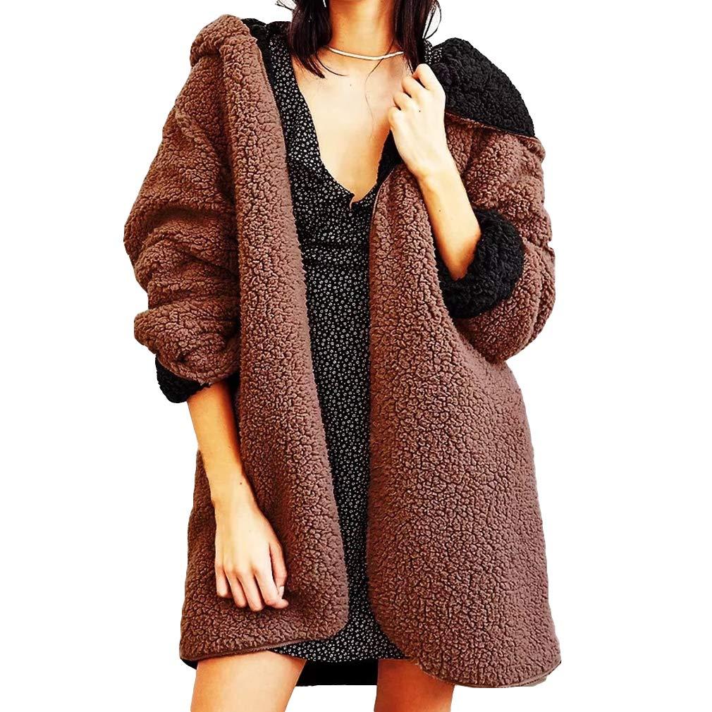 Moda para Mujer Faux Felpa Color Sólido Doble Cara Outwear Invierno con Capucha Manga Larga Sección Larga: Amazon.es: Ropa y accesorios