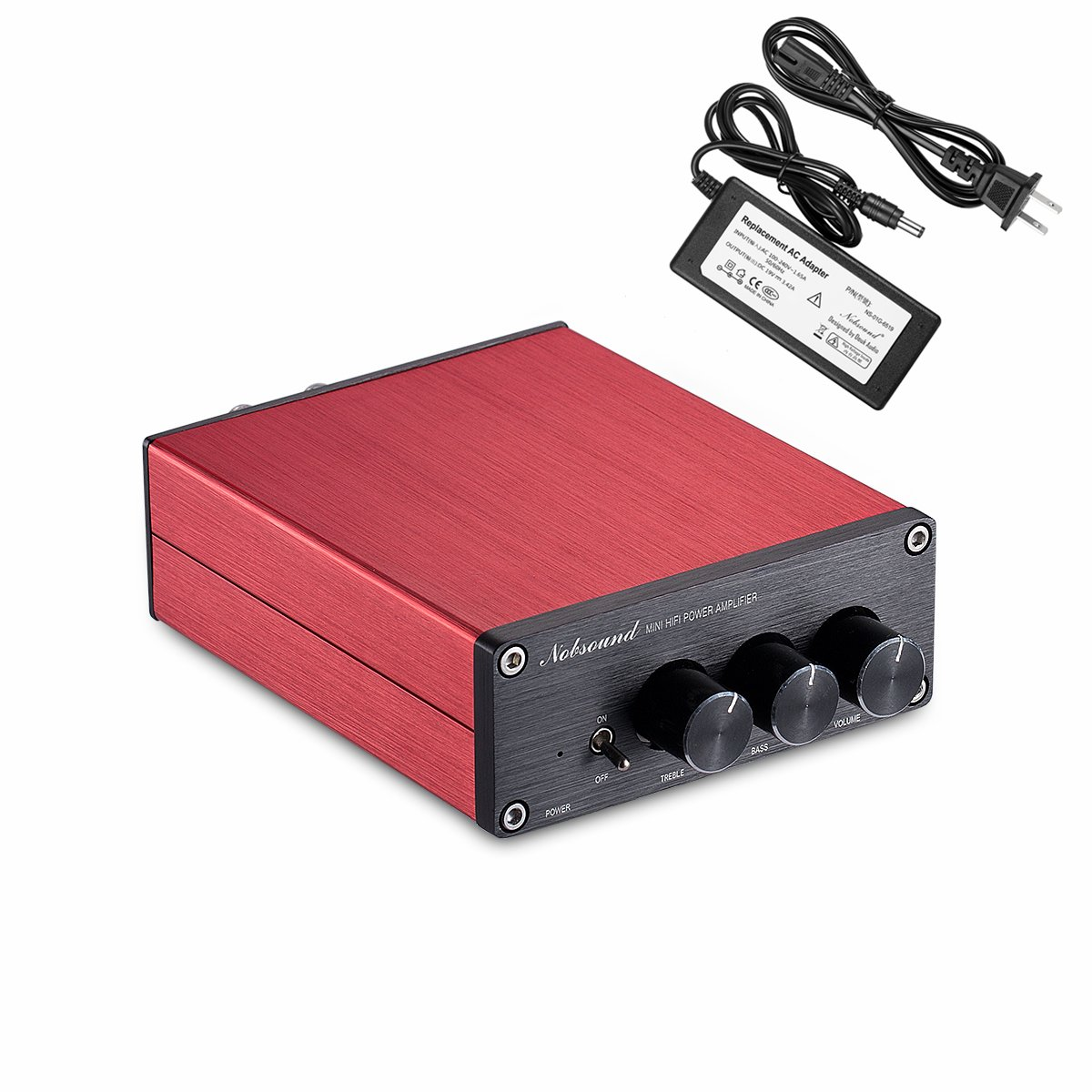 Nobsound Hi-Fi 200-Watt Digital Power Amplifier Stereo Audio Amp Treble Bass Control with Power Supply