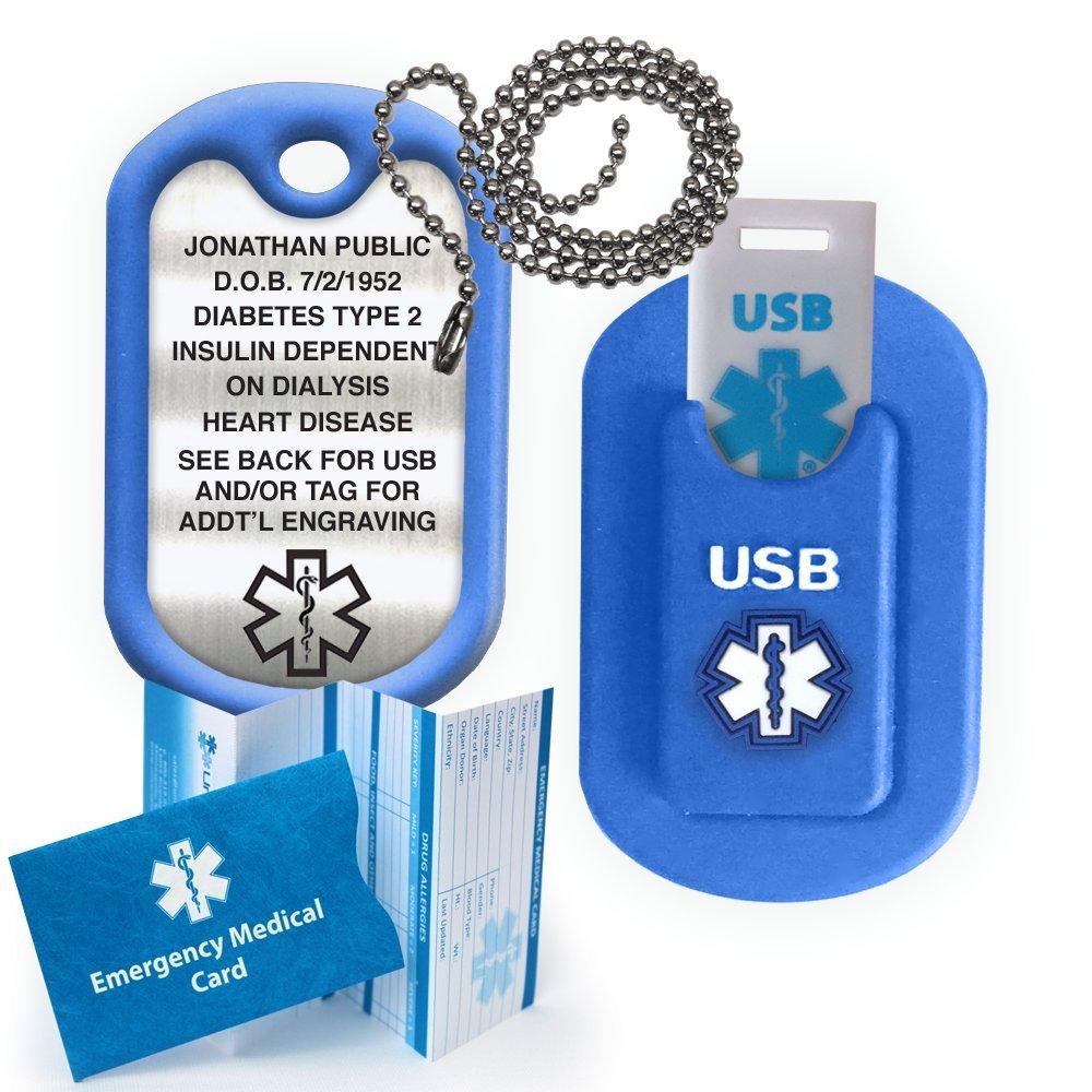 Medical Alert INFORMER USB Dog Tag - Blue by Universal Medical Data