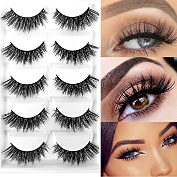 5ed41b96fd3 Amazon.com : CerroQreen Eyelashes 5 Pairs Pack 3D Fake Eyelashes Mink Fur  Hand-Made Dramatic Thick Crisscross Deluxe False Lashes Black Nature Fluffy  Long ...