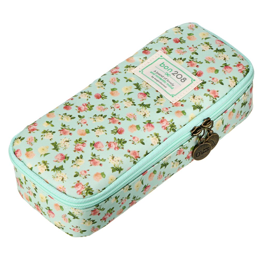 BTSKY Multifunction Waterproof Retro Flower Floral Pen Pencil Case Holder Bag - Storage Bag with Flower Pattern, Makeup Pouch, Zipper Bag, School Students Stationery (Pink)