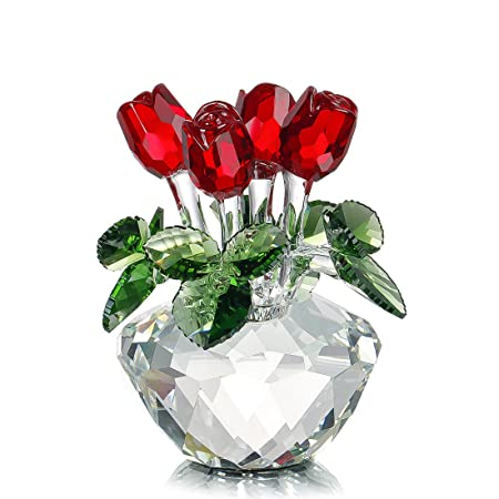 H D HYALINE DORA Red Rose Figurine Ornament Spring Bouquet Crystal Glass Flowers Gift-Boxed