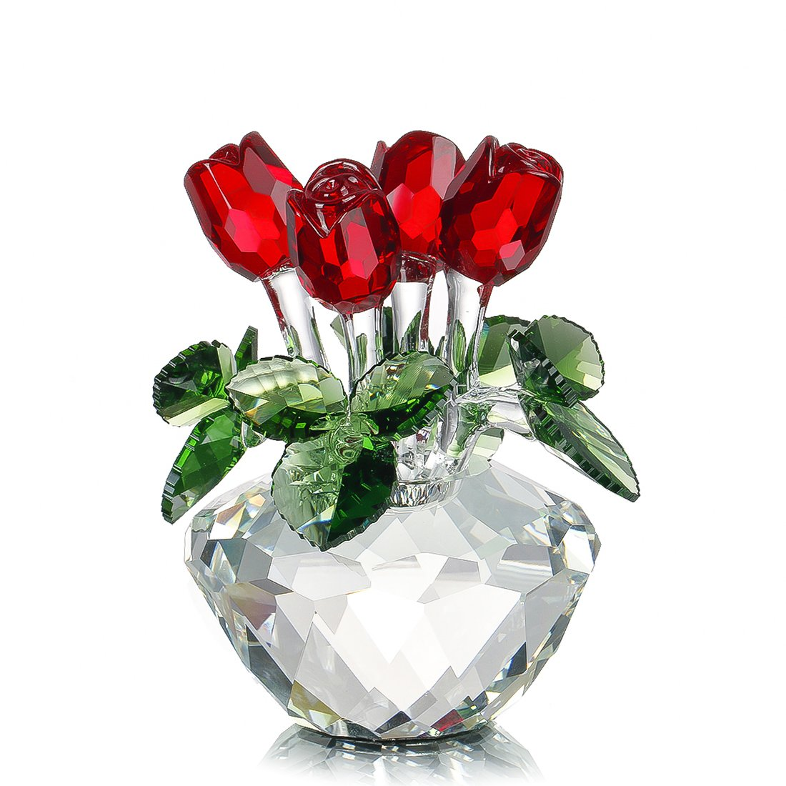 H&D HYALINE & DORA Red Rose Figurine Ornament Spring Bouquet Crystal Glass Flowers Gift-Boxed