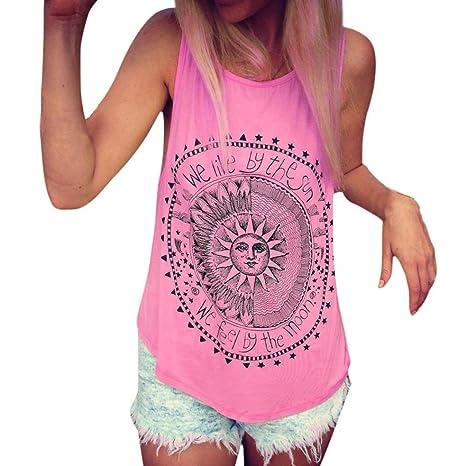 Blusa sin mangas de las mujeres Sexy Verano Sun Impreso Casual Camiseta chaleco Blusa Camisetas sin