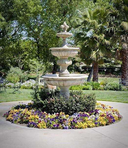 Casa Padrino Fuente de Piedra Artificial Barroco/Fuente para jardín Ø 150 x H. 280 cm - Fuente para Jardín, Colores:Blanco: Amazon.es: Hogar