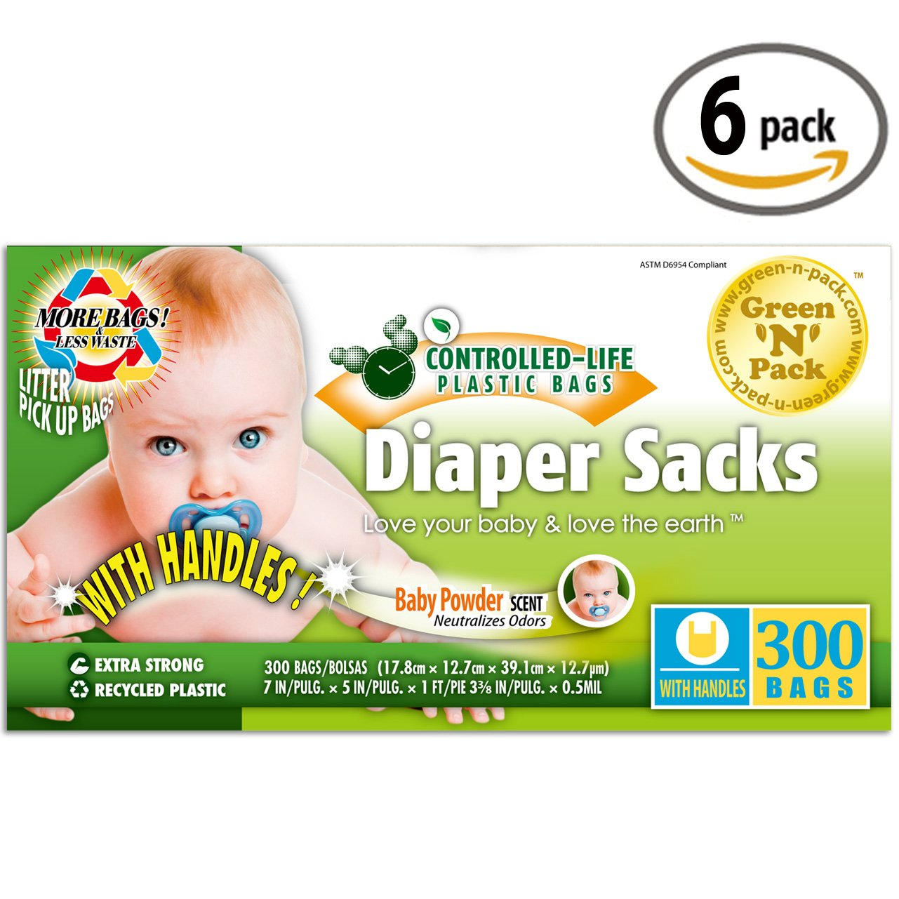 Green N Pack Baby Diaper Sacks with Fresh Baby Powder Scent (BPA Free), 300 Count, Pack of 6