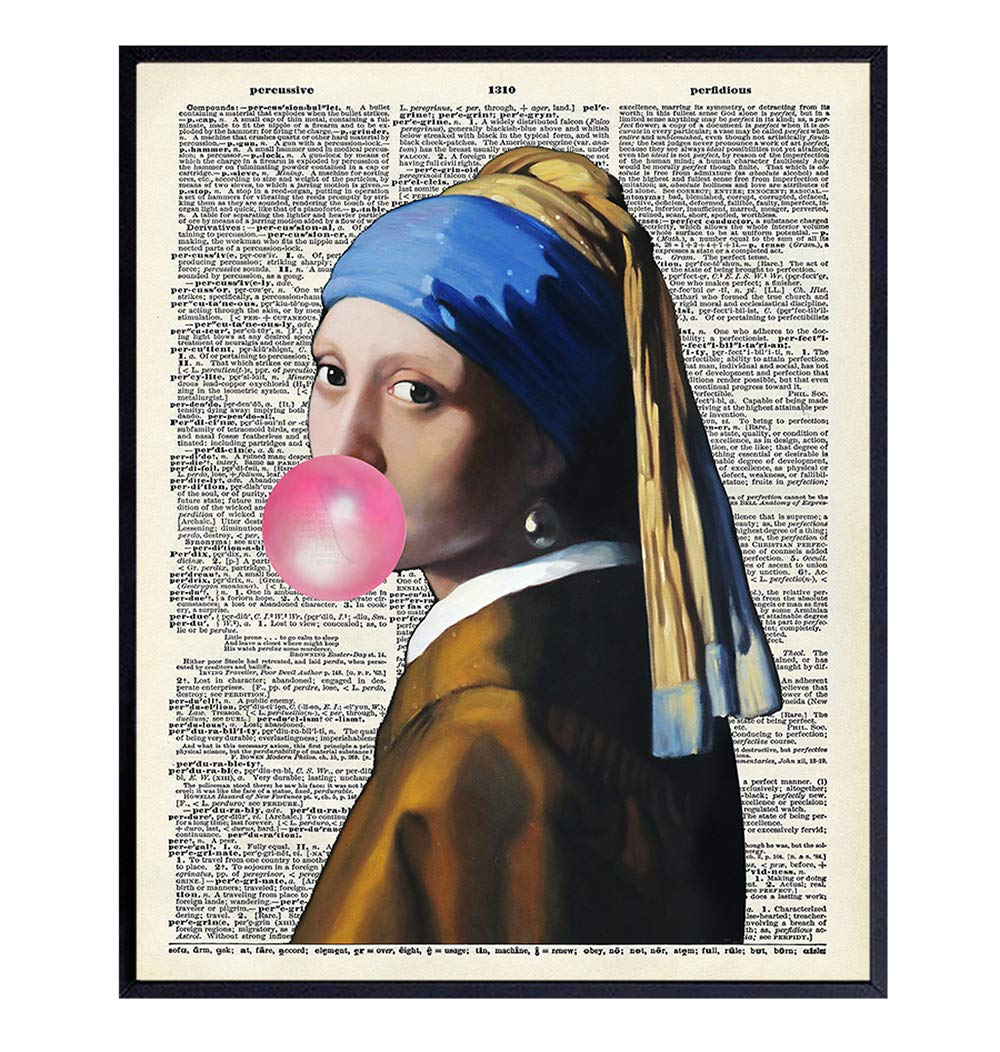 Vermeer Girl With Pearl Earring Dictionary Art, Home Decor - Upcycled Vintage Modern Wall Art Print, Poster - Contemporary Decorations for Bedroom, Living Room - Great Gift - 8x10 Photo Unframed