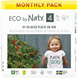 Eco by Naty Baby Diapers, Size 4, 156 Ct, Plant-based with 0% Oil Plastic on Skin, One Month Supply