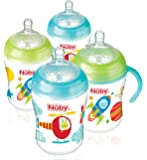 Nuby Natural Touch Decorated Bottles (270 ml, Green/Blue, Pack of 4)