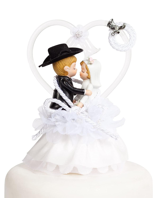 Amazon.com: Western Cowboy Lasso Wedding Cake Topper: Boot Color ...