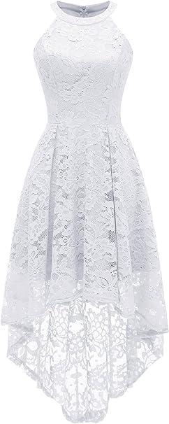 TALLA XL. Dressystar Sexy Vestido De Cóctel Hi-lo Encaje Sin Manga Vintage Retro para Fiesta Noche Blanco XL