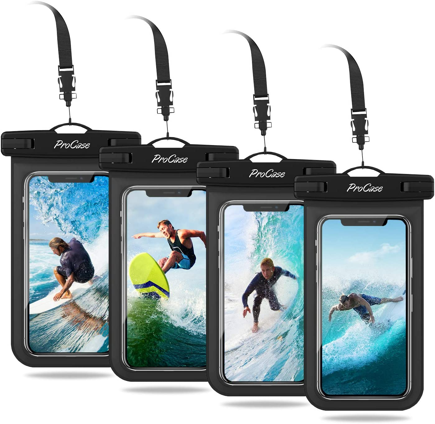 "ProCase Universal Cellphone Waterproof Pouch Dry Bag Underwater Case for iPhone 11 Pro Max Xs Max XR X 8 7 6S Plus, Galaxy S10+ S10e S9 S8+ / Note 10 10+ 5G 9 8, Pixel 3a XL up to 6.8"" - 4 Pack, Black"