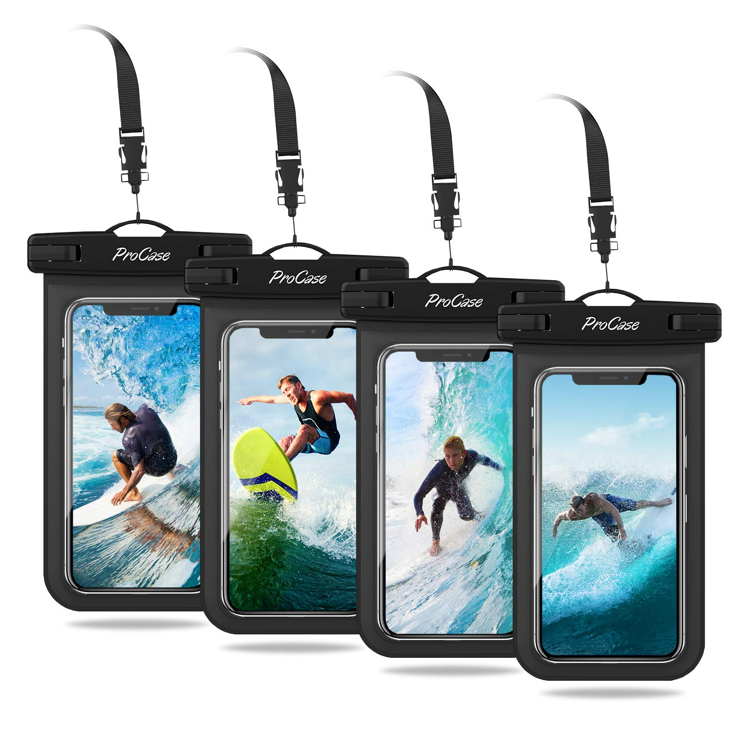 ProCase Universal Cellphone Waterproof Pouch Dry Bag Underwater Case for iPhone Xs Max XR X 8 7 6S Plus, Galaxy S10 Plus S10e S9 S8+ / Note 10 10+ 5G 9 8, Pixel 3 2 XL up to 6.8'' - 4 Pack, Black by ProCase