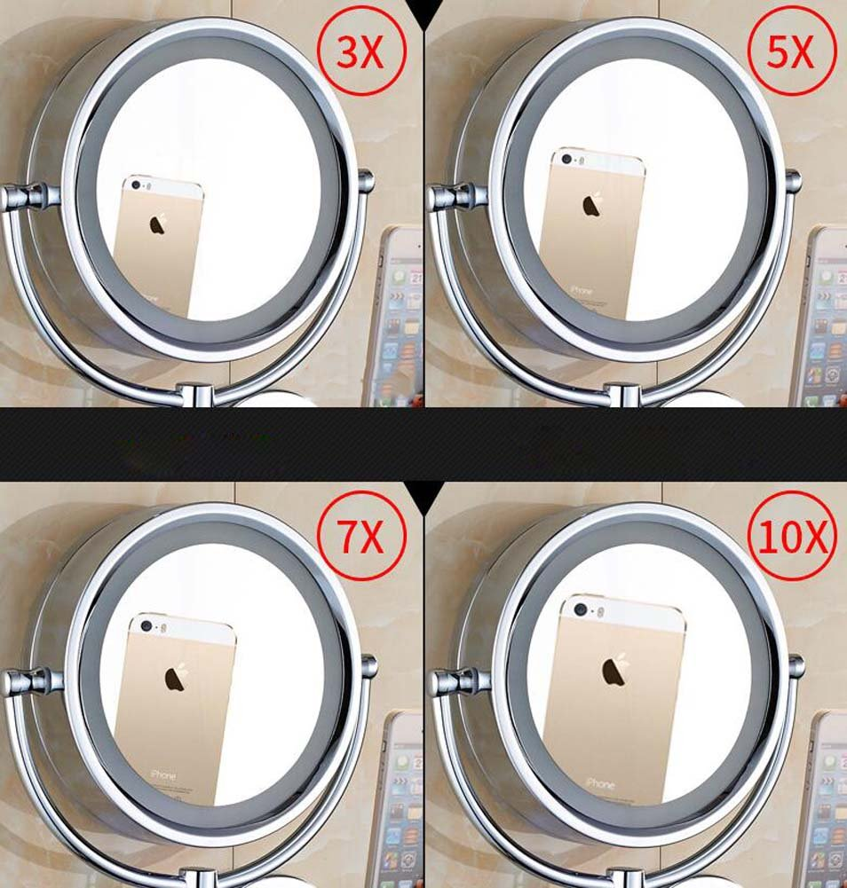 Bathroom Mirror Double Sided 8 inch Makeup Mirror 3X Spa and Hotel Extendable for Bath 5X,7X,10X//1X Magnification Wall Mounted Vanity Magnifying Mirror Swivel Design : 3X
