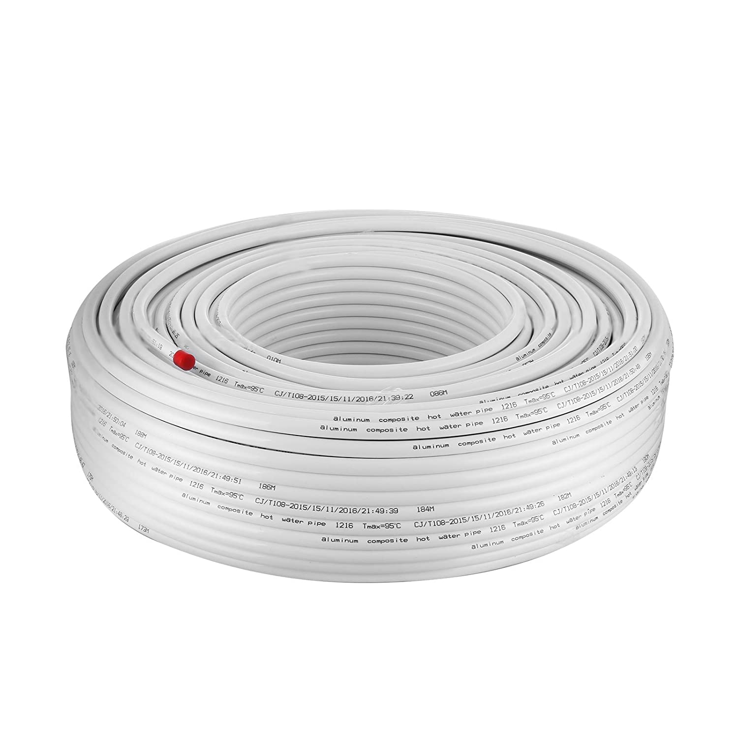 BestEquip White PEX AL PEX Tubing 1/2 Inch by 656FT 200M Tube Coil Portable Radiant Heat PEX for Hot and Cold Water Plumbing Application (1/2Inch 656FT ...