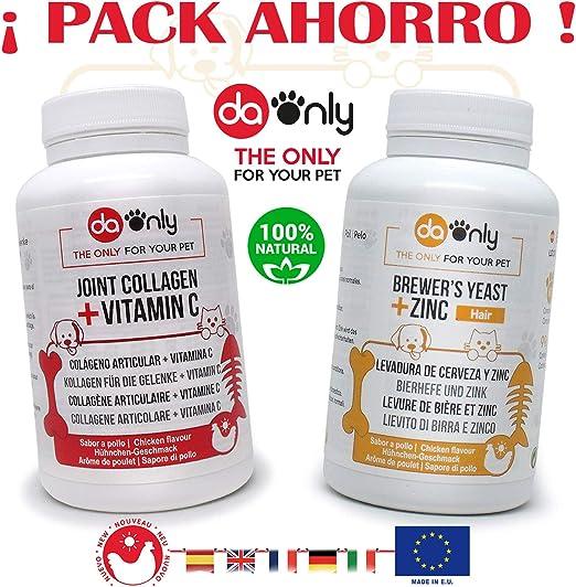 DAONLY Pack Ahorro 1 Antiinflamatorio + 1 Levadura Cerveza Sabor a Pollo para Perros y Gatos, Alternativa Natural a los medicamentos, Cuidado de Las articulaciones y Cuidado del Pelo de tu Mascota: