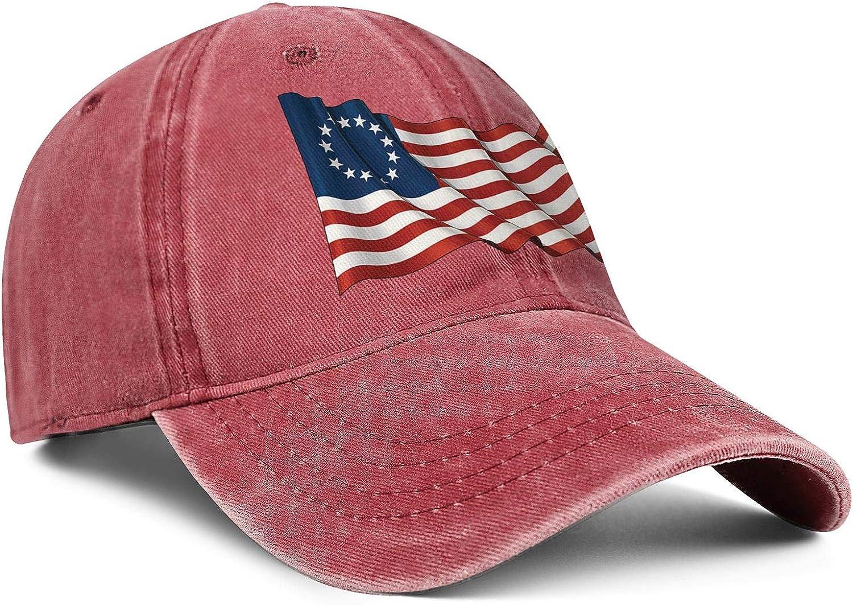 Men Womens Denim American Betsy Ross Flag Caps Cowboy Hat Adjustable Athletic Cap