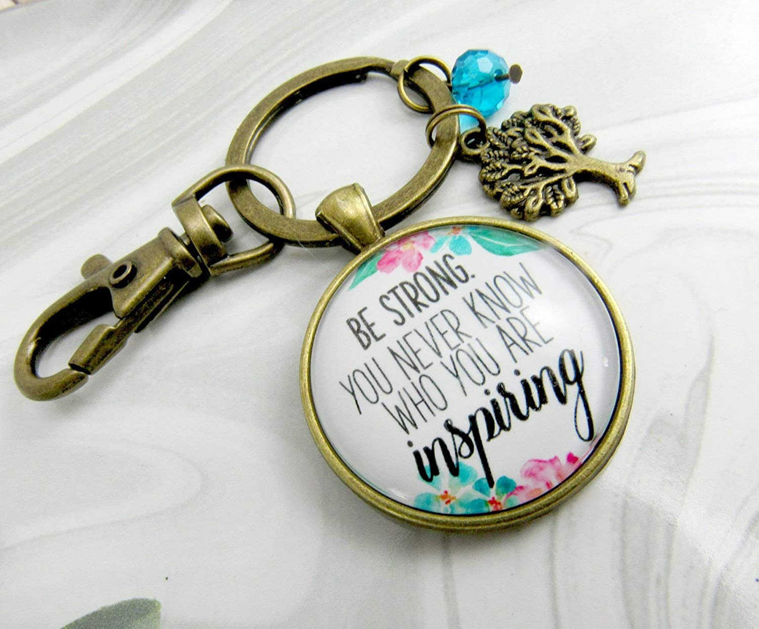 Inspirational Keychain Be Strong You Never Know Watercolor Vintage Pink Floral Meaningful Survivor Jewelry For Women