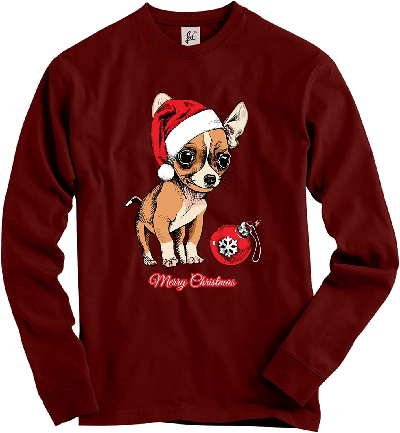 Fancy A Snuggle Chihuahua Puppy Wearing Santa Hat With Xmas Bauble Adult Christmas Jumper Sweatshirt Burgundy L Amazon Co Uk Clothing