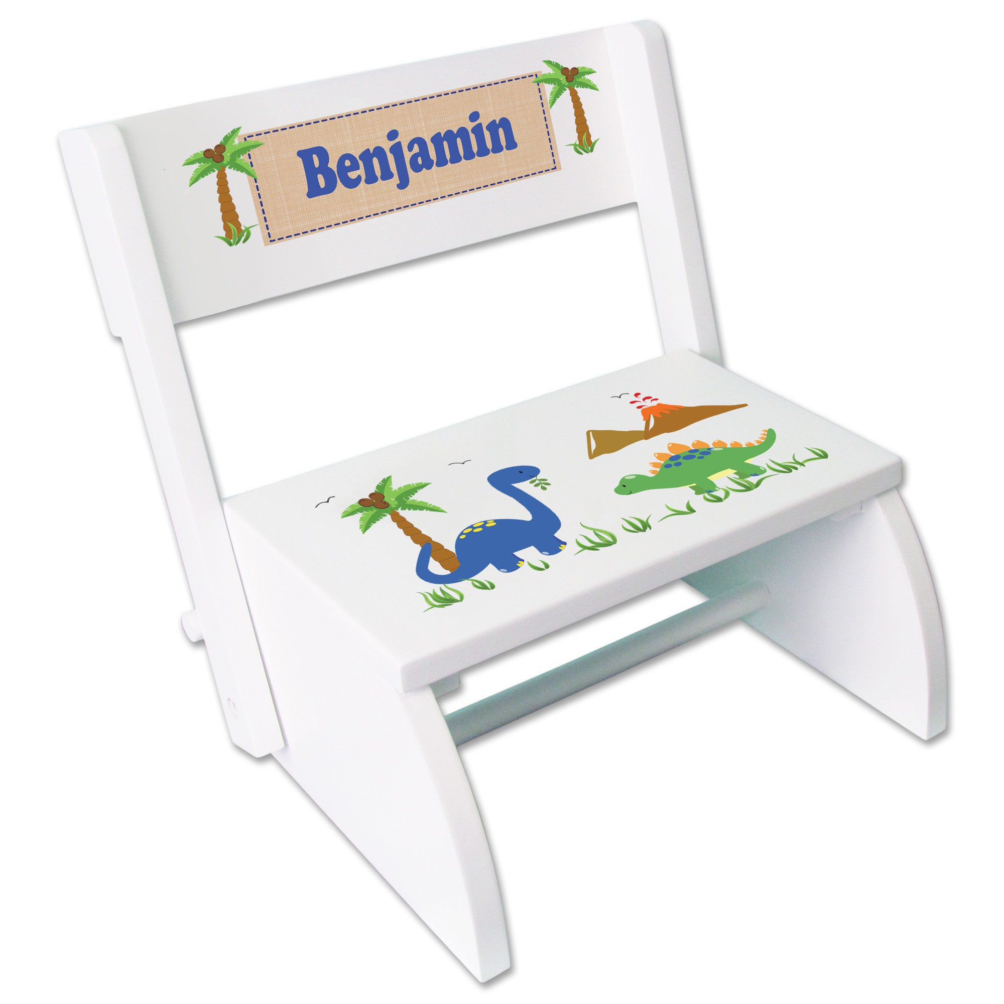 Personalized Dinosaurs Childrens and Toddlers White folding stool