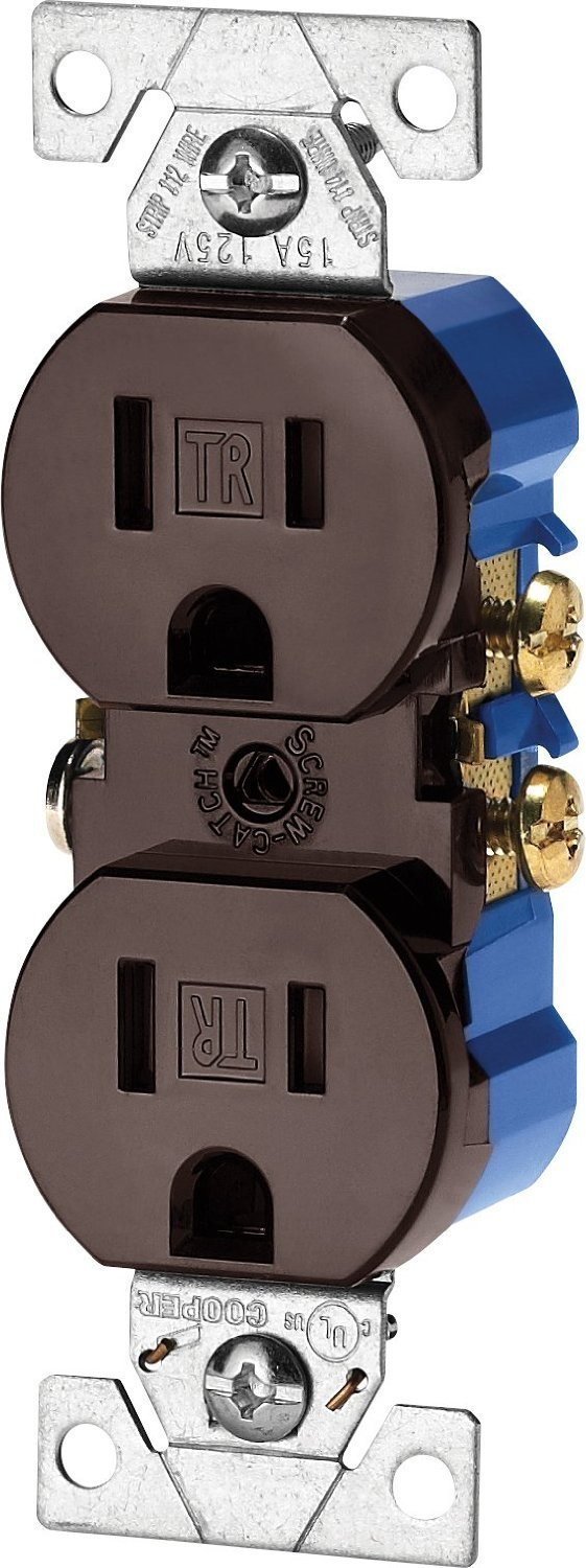 (Case of 10) Cooper Wiring Devices TR270-9B Tamper Resistant Duplex Receptacle, (Brown)