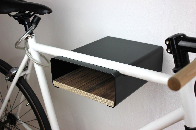 Soporte de bicicleta V shelf negro con placas de madera diversos